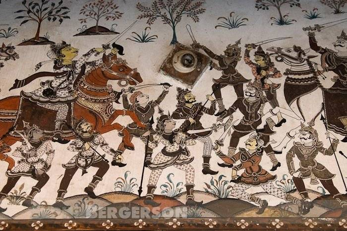 Drawings on a house wall in the artists village of Raghurajpur in Puri district Orissa. Raghurajpur was selected to revive the ancient wall paintings of Orissa. The work has already been completed and now the village looks like a living museum of paintings.