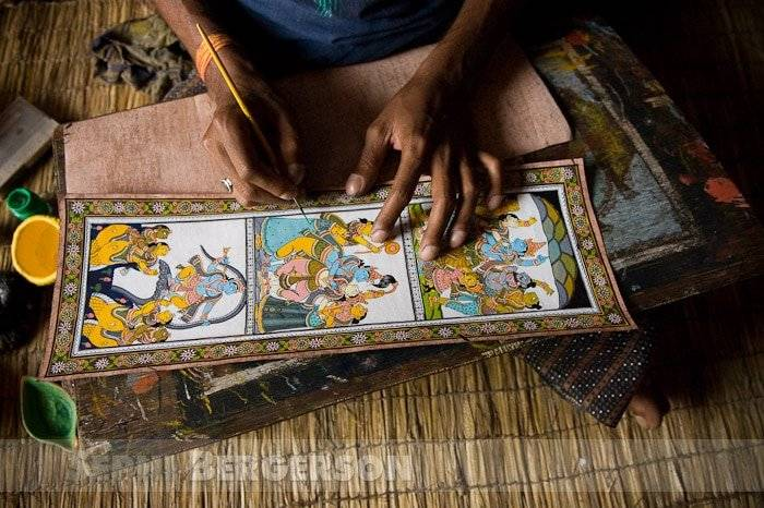 Daily life in the artists village of Raghurajpur in Puri district Orissa.