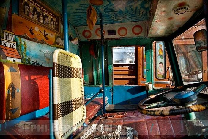 A decorated cabin of a truck in Kerala