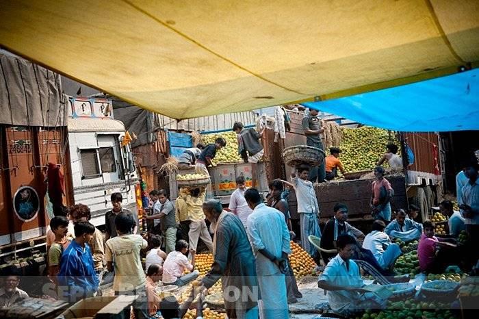 Trucks at the fruit market in Kolkata, west Bengal