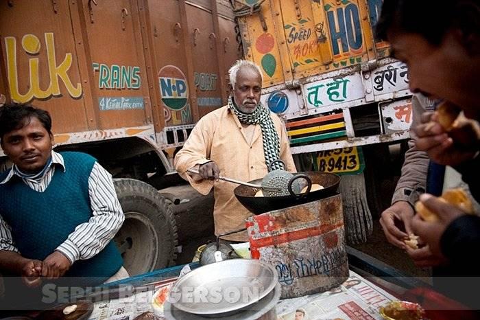 A makeshift restaurant at a truck depot outside of Delhi