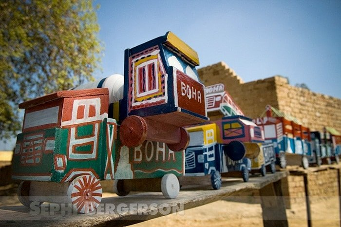 Toy trucks for sale in a roadside stall near Bathinda, Punjab