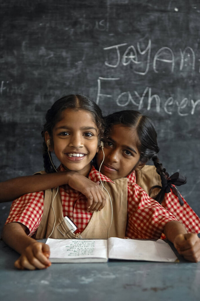 Farheena (5, left) and Jayanthi (7, right) are very good friends. they both are hearing impaired and need hearing aids which are provided by APD.